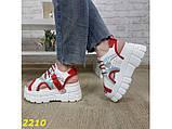 Босоніжки спортивні на високій платформі білі з червоним 37, 38, 40, 41 р. (2210), фото 8