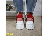 Босоніжки спортивні на високій платформі білі з червоним 37, 38, 40, 41 р. (2210), фото 2