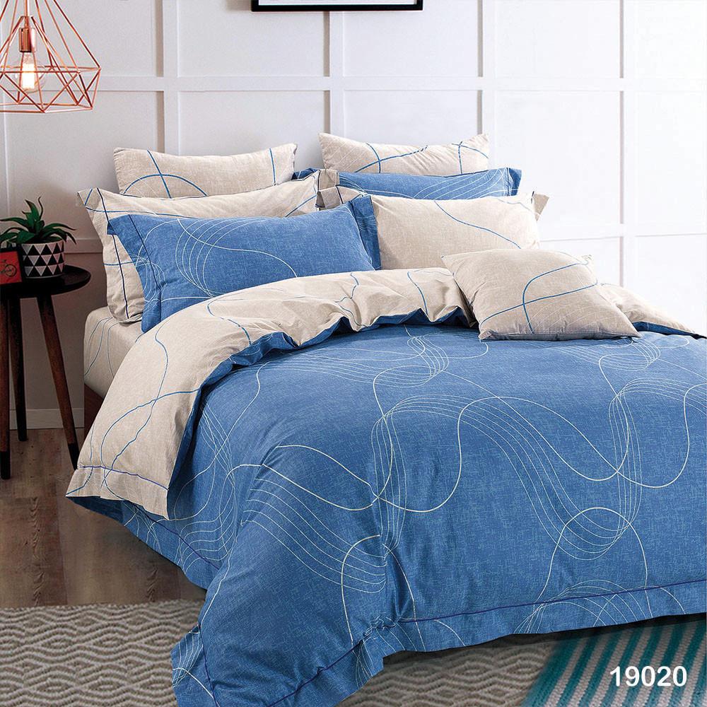КомплектпПостельное белье ранфорс Viluta/Комплект постельного белья 100% хлопок 19020 сине-бежевый с волнами