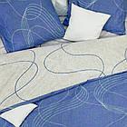 КомплектпПостельное белье ранфорс Viluta/Комплект постельного белья 100% хлопок 19020 сине-бежевый с волнами, фото 2