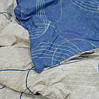 КомплектпПостельное белье ранфорс Viluta/Комплект постельного белья 100% хлопок 19020 сине-бежевый с волнами, фото 3
