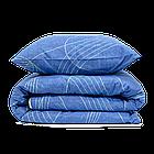 КомплектпПостельное белье ранфорс Viluta/Комплект постельного белья 100% хлопок 19020 сине-бежевый с волнами, фото 4