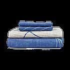 КомплектпПостельное белье ранфорс Viluta/Комплект постельного белья 100% хлопок 19020 сине-бежевый с волнами, фото 5