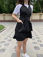 Фартук для парикмахера, униформа для салонов красоты, стильный фартук для бьюти мастера, цвет: черный