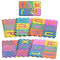 Коврик-мозаика M 0378 ЕВА, 36 шт, размер 16,5-16,5 см, толщина 0,9 см, алфавит русский 45-31см