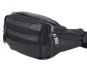 Кожаная сумка мужская на пояс бананка поясная из кожи добротная барсетка через плечо 7 карманов черная кожа R1