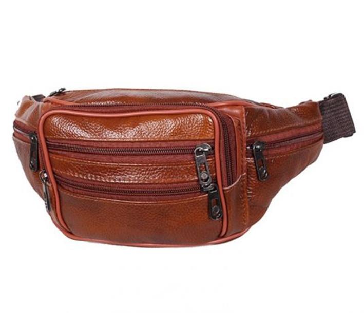Кожаная сумка на пояс плечо мужская женская бананка из кожи поясная барсетка кожа светло коричневая Польша