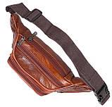 Кожаная сумка на пояс плечо мужская женская бананка из кожи поясная барсетка кожа светло коричневая Польша, фото 4