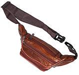 Кожаная сумка на пояс плечо мужская женская бананка из кожи поясная барсетка кожа светло коричневая Польша, фото 6