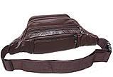 Кожаная сумка мужская на пояс оригинальная бананка из кожи поясная барсетка через плечо коричневая кожа R3, фото 3