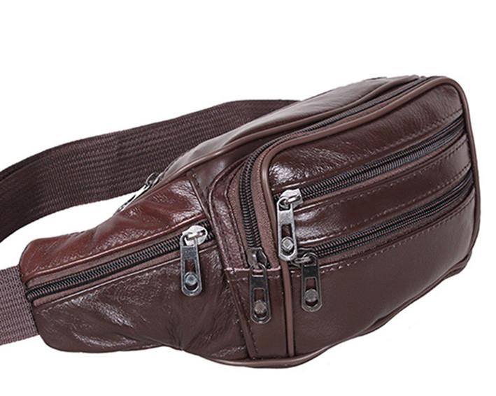 Кожаная сумка мужская на пояс оригинальная бананка из кожи поясная барсетка через плечо коричневая кожа R3