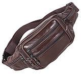 Кожаная сумка мужская на пояс оригинальная бананка из кожи поясная барсетка через плечо коричневая кожа R3, фото 5