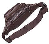 Кожаная сумка мужская на пояс оригинальная бананка из кожи поясная барсетка через плечо коричневая кожа R3, фото 6