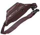 Кожаная сумка мужская на пояс оригинальная бананка из кожи поясная барсетка через плечо коричневая кожа R3, фото 7