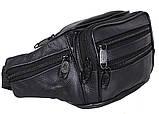 Кожаная сумка на пояс и плечо бананка из кожи барсетка поясная мужская 8Dovhani черная кожа Польша, фото 3