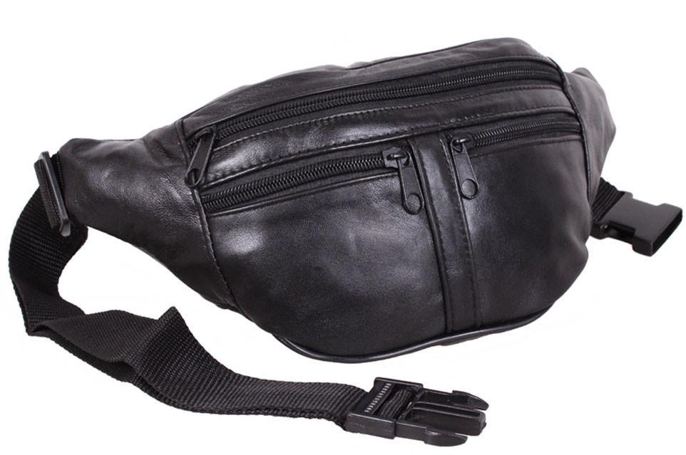 Кожаная сумка на пояс плечо бананка поясная из кожи мужская женская барсетка черная кожа s903 Польша
