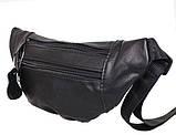 Кожаная сумка на пояс плечо компактная бананка поясная из кожи барсетка мужская женская черная кожа s8663, фото 2