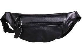 Кожаная сумка на пояс плечо компактная бананка поясная из кожи барсетка мужская женская черная кожа s8663