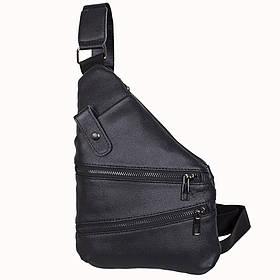 Кожаная сумка мужская мессенджер из кожи через плечо черная Dovhani R1901-1BLACK-11 кожа 29х21см