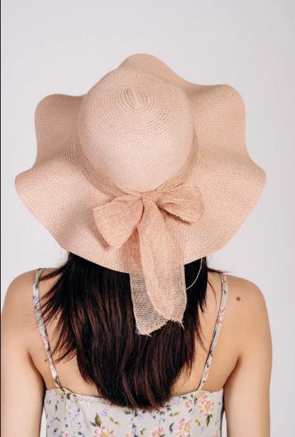 Шляпка широкополая Лилиан с бантом пудровый цвет