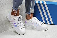 Зимние женские кроссовки Adidas Superstar белые с фиолетовым 36