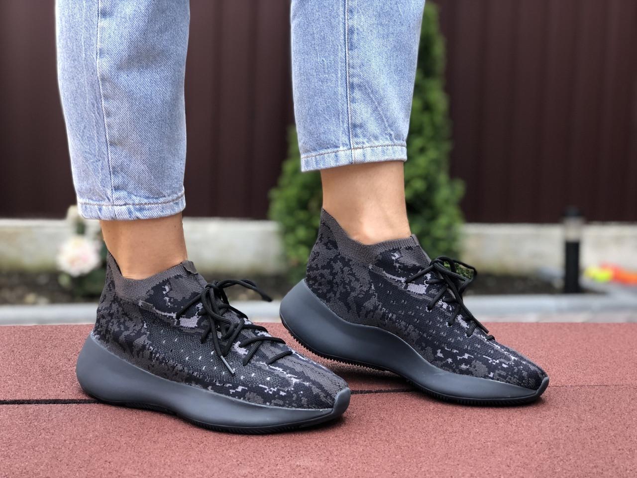 Женские кроссовки Adidas Yeezy Boost 380 (черные) 9516