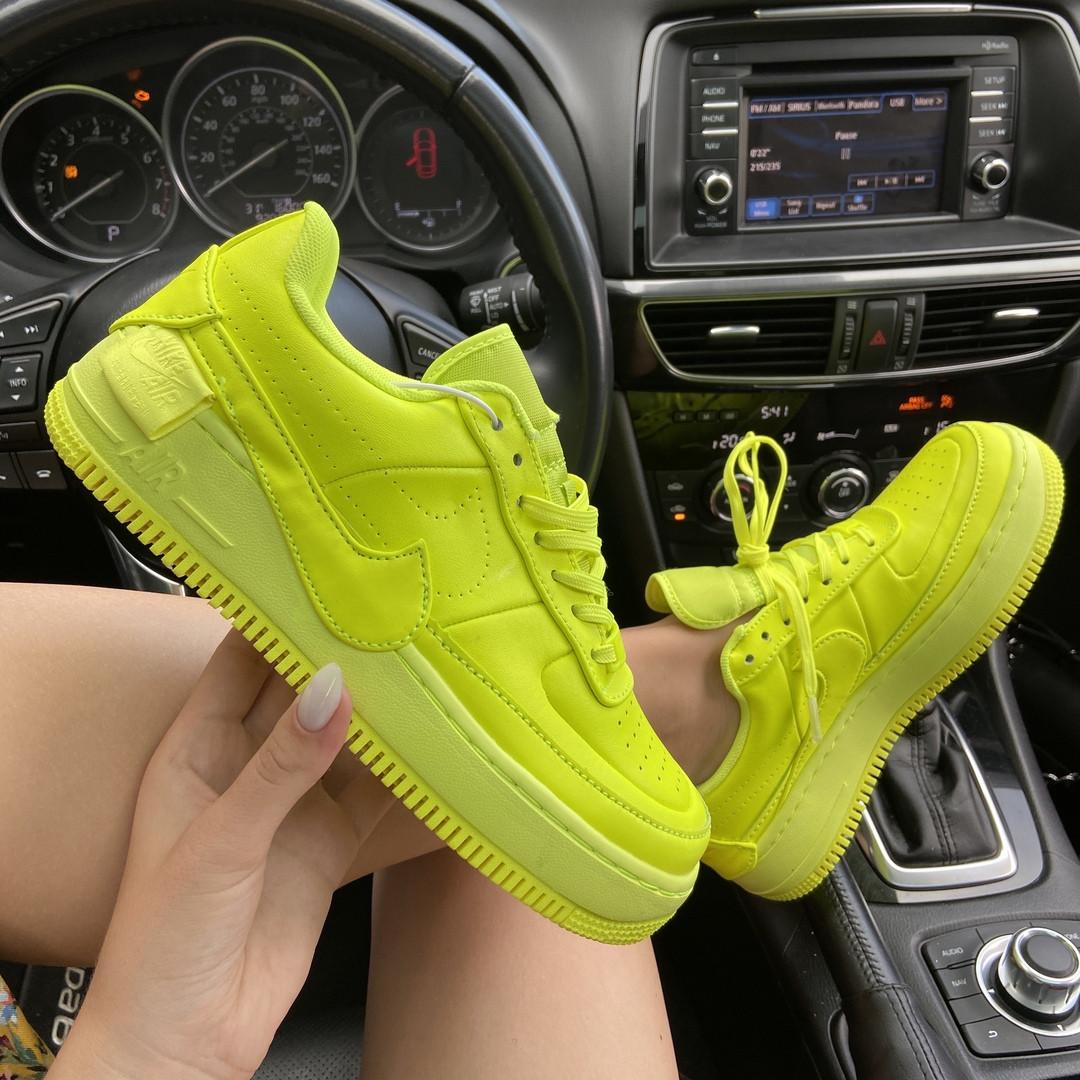 Женские кроссовки Nike Air Force 1 Low Jester Neon Green (зеленые) C-1877