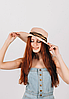 Шляпка широкополая Саманта пудровая с лентой зебра принт, фото 2