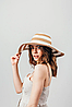 Шляпка широкополая Флоренс полосатая капучино-белый цвет, фото 2
