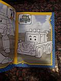 Раскраска детская А5 ( для мальчиков) robocar poli робокар поли в наборе идет 80 наклеек RASK8, фото 2