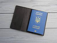 Кожаная обложка на паспорт, обложка на загранпаспорт из кожи_ черная