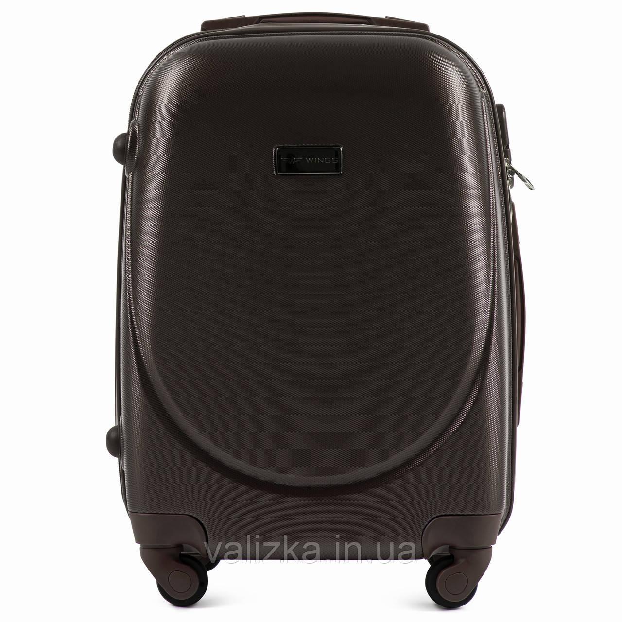 Пластиковый чемодан малый коричневый с фурнитурой в цвет S+ ручная кладь