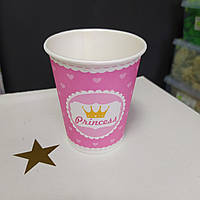 Стакан рожевий принт princess з сердечками 175мл