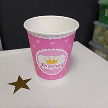 Стакан рожевий принт princess з сердечками 175мл упаковка 5шт.