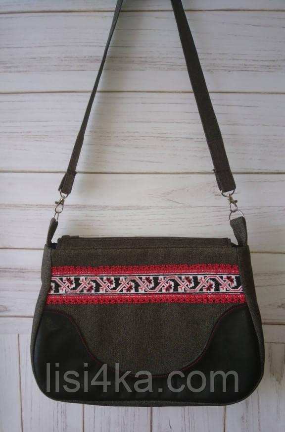 Средняя тканевая сумка с микро-вышивкой и кожаными вставками