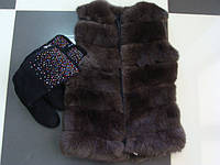 Красивый меховой жилет на девочку-подростка 36 размер  от производителя, фото 1