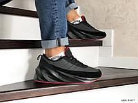 Мужские зимние кроссовки на меху Adidas Sharks, кожа, замша, пена, черные с серым. 44