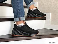 Мужские зимние кроссовки на меху Adidas Sharks, кожа, замша, пена, черные с оранжевым. 42