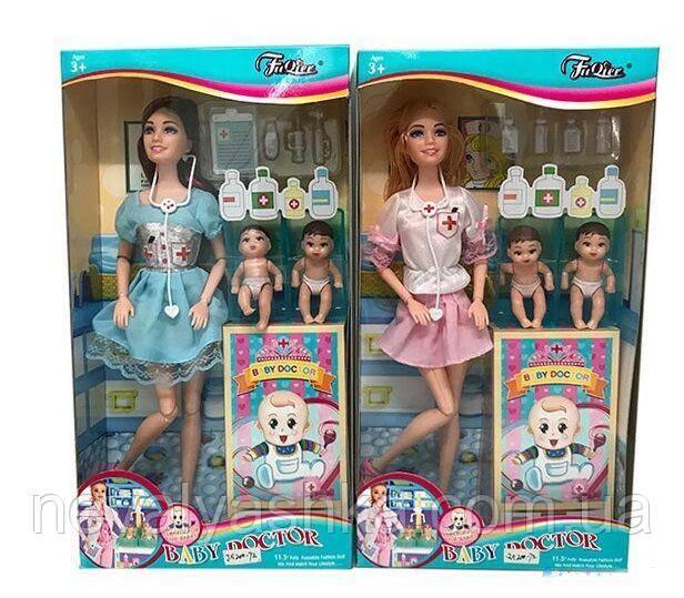 Кукла Детский Доктор Шарнирная 2 малыша дети и врач набор доктора лялька, JX 200-72, 012324