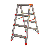 Стремянка двусторонняя алюминиевая Laddermaster Polaris A5A4. 2x4 ступеньки