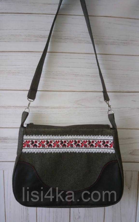 Средняя тканевая сумка с кожаной вставкой и микро-вышивкой