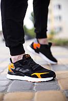 Мужские кроссовки YKE, рефлект, черные с оранжевым, плотная ткань, реплика