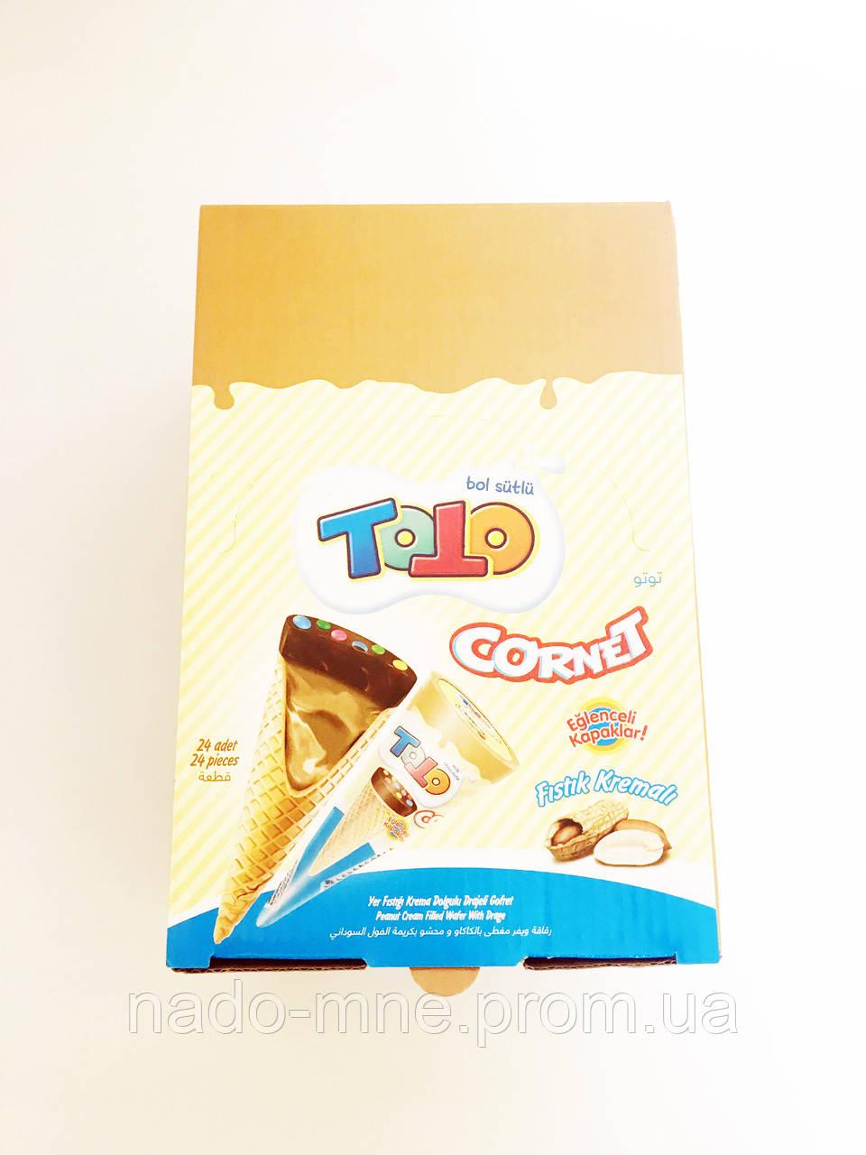 Вафельный рожок со вкусом лесного ореха Tо To Cornet, 25 г (24 шт у коробке)