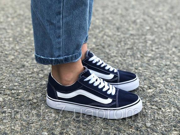 Женские - подростковые кеды Vans синие реплика, фото 2