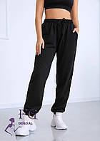 Черные женские спортивные брюки с высокой посадкой  В 019/ 03, фото 1