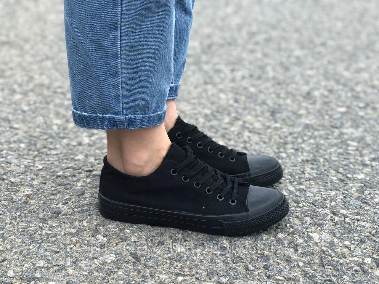 Женские - подростковые кеды Converse черные реплика
