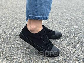 Женские - подростковые кеды Converse черные реплика, фото 2