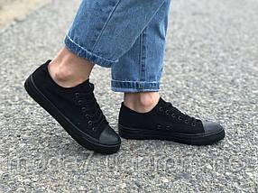 Женские - подростковые кеды Converse черные реплика, фото 3