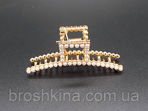 Краб для волосся 7 см метал з перлами