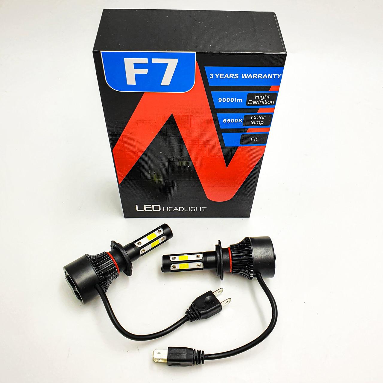 Комплект LED ламп головного світла H7 6500K 35W 12/24v з активним охолодженням HeadLight F7 2шт